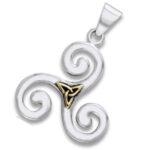 Vedhæng Triskele og Triquetra – Treenighedssymbolet – u/kæde